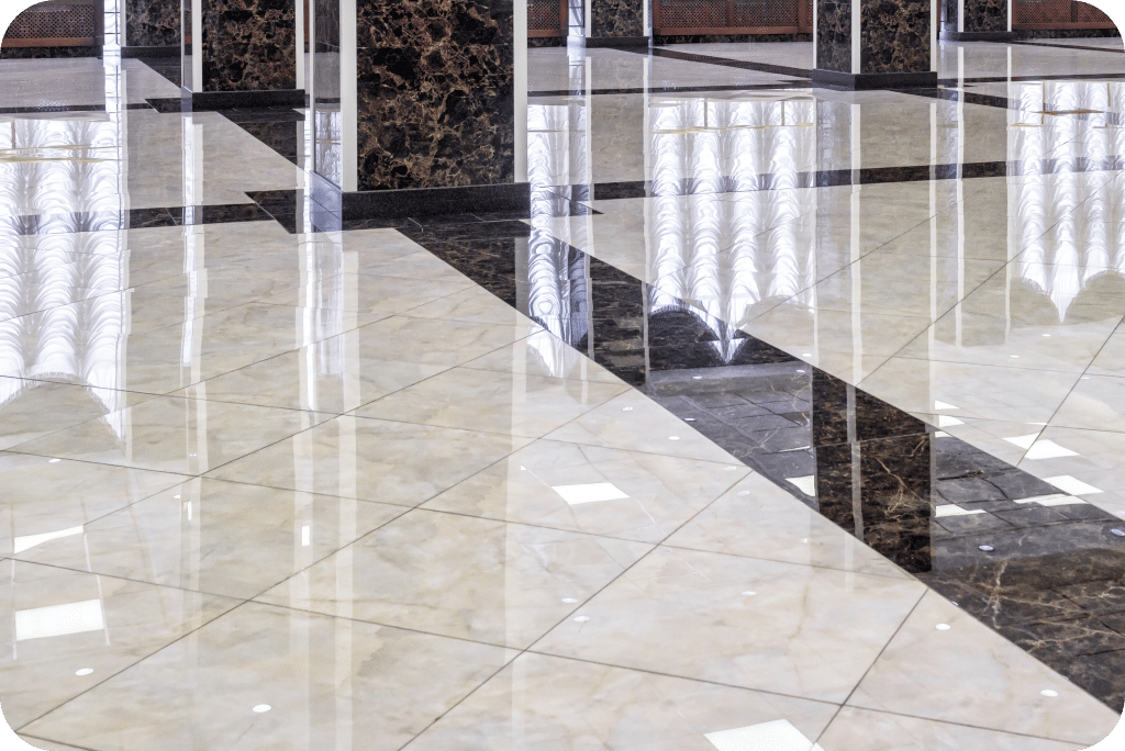 Shiny commercial building flooring