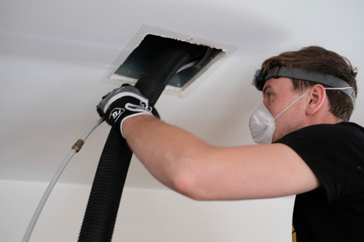 Air duct cleaning, drill, ductwork, man, hvac
